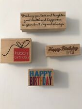 WOOD RUBBER STAMP LOT OF 4 STAMPS - HAPPY BIRTHDAY