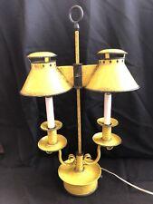 Vintage Double Metal Tole Toleware Bouillotte Student Desk Table Lamp Excellent