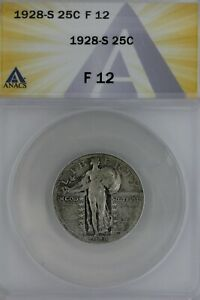 1928-S  .25  ANACS  F 12   Standing Liberty Quarter, Liberty 25 Cents