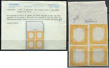 1861 SARDEGNA FRANC.NATUR. BOLAFFI 14D quartina 80 cent SENZA EFFIGE val. €15000