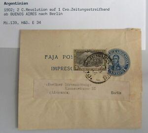 1902 Stempel BUENOS AIRES 1 Centavio Zeitungsstreifband mit Zusatz-Frankatur