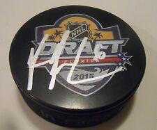 Ryan Pilon Signed 2015 NHL Draft Hockey Puck w/COA New York Islanders