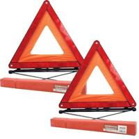 2x Reflective Warning Sign Fordable Triangle Car Hazard Breakdown Eu Emergency