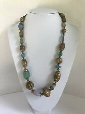 "Vintage Necklace victorian gold tone Green Blue Lilac stone beads 26.5"" chunky"
