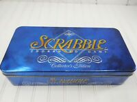 SCRABBLE COLLECTOR'S EDITION Crossword Word Game Deluxe Blue Tin Box COMPLETE