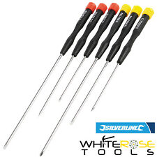 6 Tournevis de Precision Extra longs Silverline Sd62