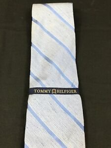 Tommy Hilfiger Neck Tie Blue Striped 100% Silk Made In USA