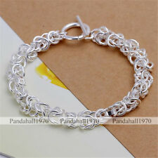 1 Strand Unisex Toggle Clasps Silver Brass Chain Bracelets Bangles 200x6mm