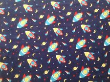 ~FLANNEL~Space Ships~Quilting~Outer Space~Rocket~Fabric~Boys~Blue~Flannelette~FQ