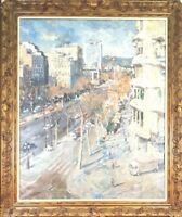 LANDSCAPE OF BARCELONA. OIL ON CANVAS. SIGNED COLLADO. TWENTIETH CENTURY.