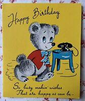 Vintage 1940s UNUSED Birthday Greeting Card Cute Teddy Bear with Telephone