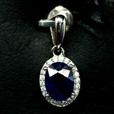 NATURAL 6 X 8mm. BLUE SAPPHIRE & WHITE CZ PENDANT 925 SILVER STERLING