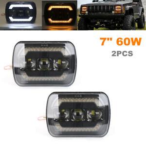 "2PCS 7"" 60W Highlight LED Projector Halo Headlights Car SUV Daytime Running Lamp"