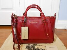 New Auth Burberry $1395 Somerford Patent Leather Tote Shouler Bag Handbag, Red