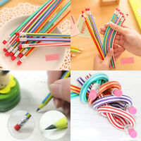 Hot 5Pcs Fantastic Bendy Flexible Soft Pencil With Eraser For Kids Writing Gifts