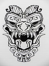 Aztec totem mask myths Magic stickers/car/van/bumper/window/decal 5289 Black