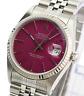Rolex Datejust Mens  Stainless Steel Burgundy Linen Dial Fluted Bezel 36mm Watch