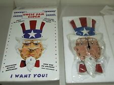 New Sealed Unused UNCLE SAM Animated Eyes & Tie Motion Wall Clock with Box USA