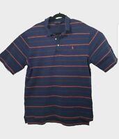 Polo Golf Ralph Lauren Shirt Mens L Blue Orange Striped Casual Short Sleeve