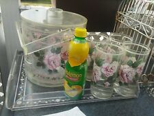 Vtg MCM Stotter Acrylic Lucite Plastic Ice Bucket Tray Tumblers-4 Set Pink Roses