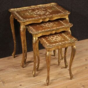 Triptych Coffee Tables Furniture Wooden Golden Antique Style For Living Room 900