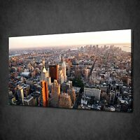 NEW YORK CITY SUNSET SKYLINE MODERN BOX CANVAS PRINT WALL ART PICTURE