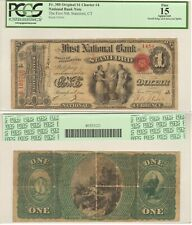 National Bank Note, Stamford CT, Charter 4, $1 PCGS graded F15 Apparent, Fr.380