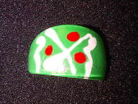 Green, White, and Red Plastic Ring. Size N  (J104)