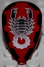 Lego Castle Shield Ovoid Silver Scorpion Pattern on Dark Red Vladek
