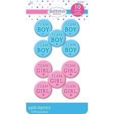 10 RAGAZZA DELLA SQUADRA/TEAM BOY pulsanti/distintivi Baby Shower/Sesso rivelare Party Blu/Rosa