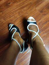 Nine West Black & White Strappy Heels Size 10