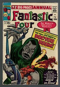 Marvel Comics Fantastic four 2 Annual king size Origin Dr Doom VGF 5.0 1964