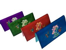 """Leather Check Book Cover,""""Flowers Cited.Butterflies""""pattern, more color choice."""