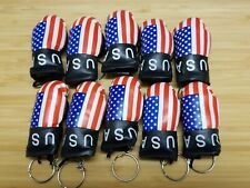 10 US Keychains Mini boxing gloves key chain ring flag