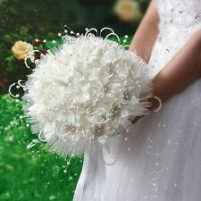 New Bridal Wedding Bouquet Brooch Imitation Pearls Posy Beige Simulation Flowers