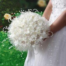New Bridal Wedding Bouquet Brooch Imitation Pearls Posy Beige Simulation Flowers