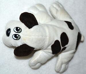 "VINTAGE 1985 TONKA POUND PUPPIES, WHITE & CHOCOLATE BROWN, 8"" LONG DOG PUPPY"