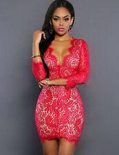 New Ladies Pink Lace Long Sleeves Mini Dress Size UK M 10