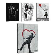 BANKSY Leinwand Bild Wandbilder Bilder XXL Abstrakt Kunst Wohnzimmer Mädchen 48