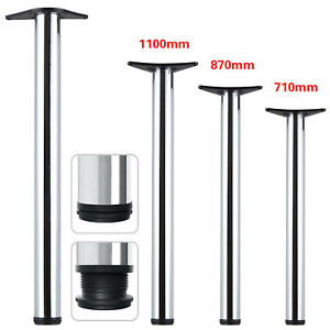 2/4Pcs Chrome Adjustable Breakfast Bar Table Legs Desk Kitchen 710/870/1100mm UK