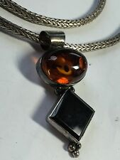 "20"" Sterling Silver Bali Wheat chain with Honey Amber Onyx Pendant 44.0 grams"