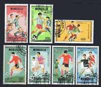 Football Mongolie (42) série complète 7 timbres oblitérés