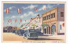 Main Street First Block Cars Tijuana Mexico 1946 postcard