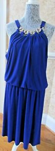 Womens Style & Co halter dressy purple sleeveless dress with decorations sz 16