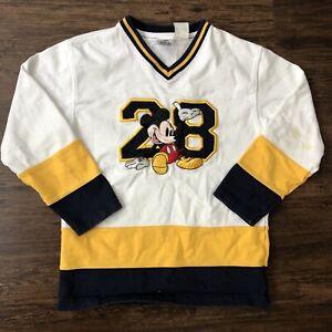Disney Varsity League Hockey Sweatshirt Youth Large White Mickey Embroidered