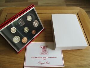 1985 - ROYAL MINT PROOF COIN SET - DELUXE RED ISSUE - WITH CERT & NEW OUTER BOX