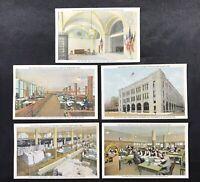 Lot of 5 Detroit News Building Vintage Postcards Unused Each a Different Scene