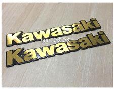 2 x KAWASAKI Retro Classic Street Emblem Badge Fuel Tank Decals GOLD / BLACK