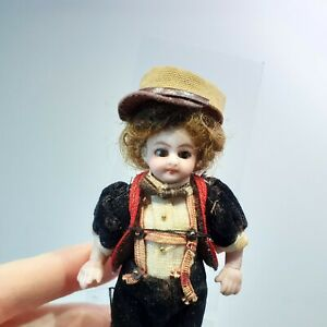 """610 Antique all bisque German/French Boy w Glass eyes in Black costume, 3 1/2"""""""