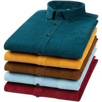 Men's Long sleeve Corduroy Shirt Button Down Tops Cotton Blouses Vintage Style D
